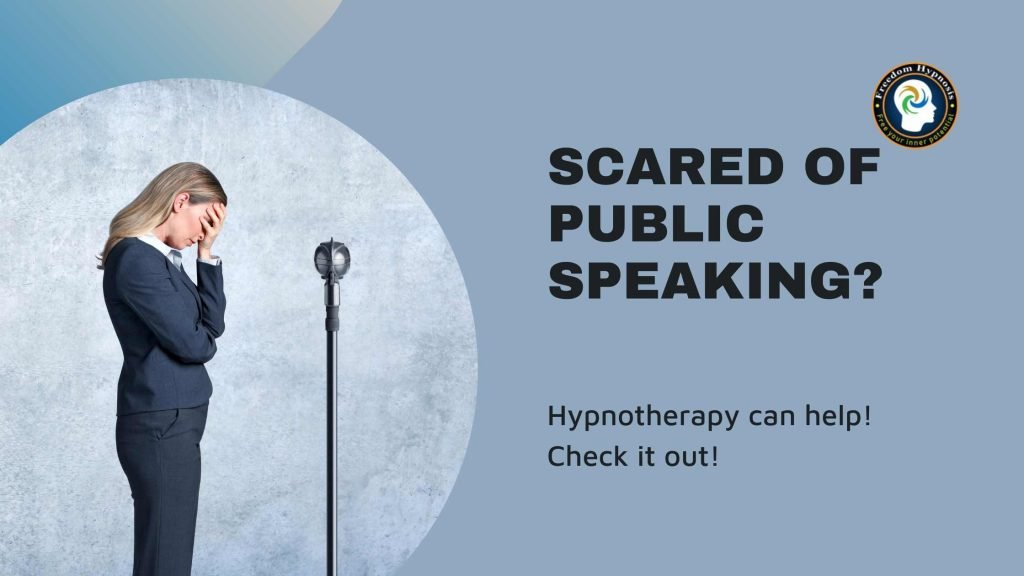woman afraid of speaking in public uses hypnosis to gain confidence