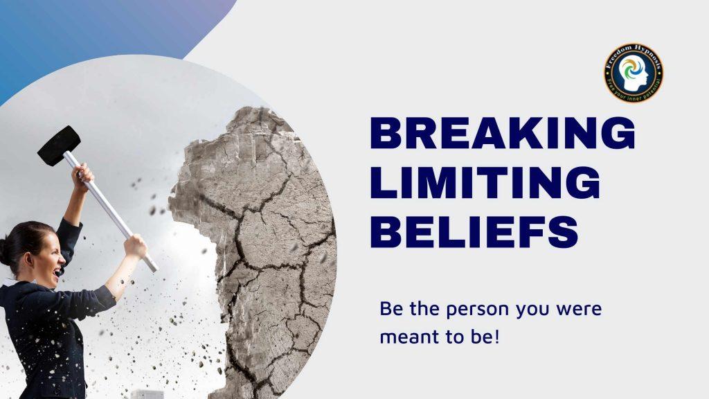woman breaking a wall like breaking limiting beliefs